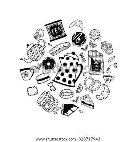 Hand drawn doodle tea time elements collection.Vector set. Teapots, cups, cupcakes and sweets.