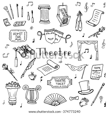 Hand drawn doodle Theatre set Vector illustration Sketchy theater icons  Theatre acting performance elements Ticket Masks Lyra Flowers Curtain stage Musical notes Pointe shoes Make-up artist tools - stock vector