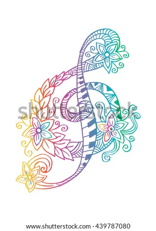 Hand drawn doodle treble clef. - stock vector