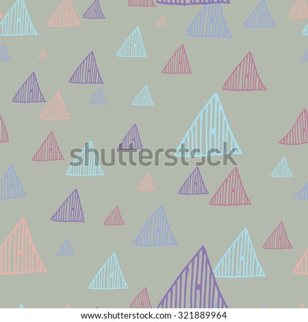 Hand drawn doodle triangles seamless retro pattern background vector dark