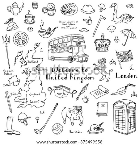 Hand drawn doodle United Kingdom set Vector illustration UK icons  Welcome to London elements British symbols collection Tea Bus Horse riding Golf Crown Beer Lion Bulldog Flag Britannia Pound sterling - stock vector