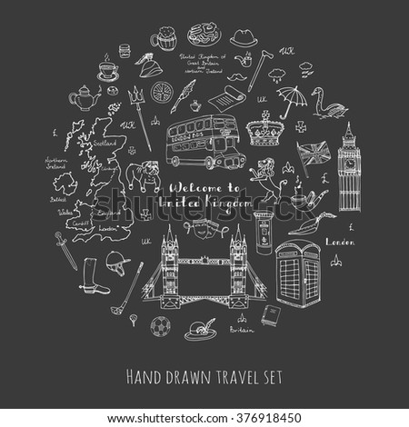 Hand drawn doodle United Kingdom set Vector illustration UK icons  Welcome to London elements British symbols collection Tea Bus Horse riding Golf Crown Beer Lion Bulldog London bridge Big Ben Tower - stock vector