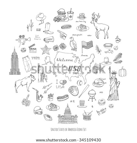 Hand drawn doodle USA set Vector illustration Sketchy american icons United States of America elements Flag Statue of Liberty Eagle Fast food Corn Skyscraper Deer Bison Cowboy hat boot Native American - stock vector