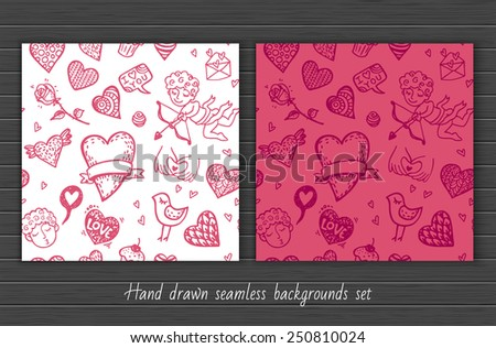 Hand drawn doodle Valentine`s day seamless pattern set. - stock vector
