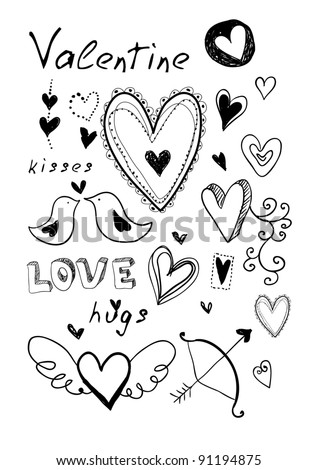 Hand drawn doodle Valentine's elements. May be used as foiling for different printings or a background. - stock vector