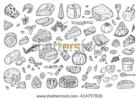 Hand Drawn Doodle various types of cheese: roquefort, parmesan, goat cheese, mozzarella, smoked gouda, blue cheese. Vector Set.