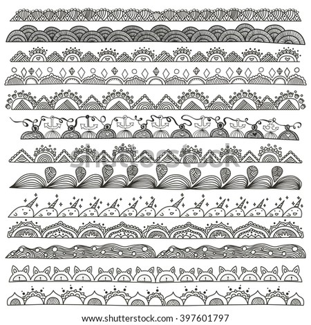 Hand drawn doodle vector dividers and design elements