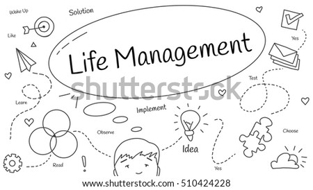 Hand drawn doodle vector illustration about life management.