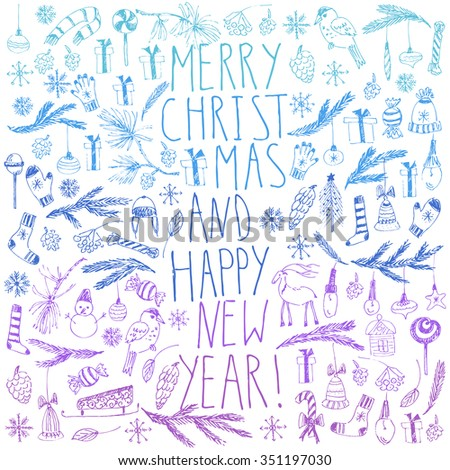 Hand drawn doodle vector illustration. Christmas colorful blue and purple line art drawings on white. Christmas new year card with lettering, snowflakes, snowman, fir tree branches, candy, ornaments. - stock vector