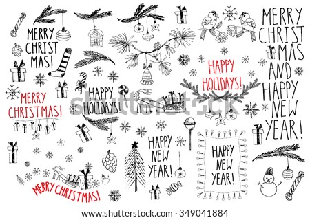 Hand drawn doodle vector illustration. Christmas line art drawings in black and red. Small sets with lettering, fir branches, ornaments, candy, present boxes for gift tags, labels, card, invitations. - stock vector
