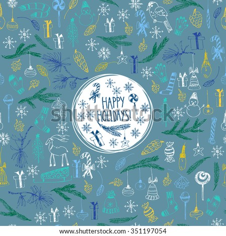 Hand drawn doodle vector illustration. Christmas line art drawings on blue background. Christmas and new year card with lettering, snowflakes, snowman, fir tree branches, candy, ornaments. - stock vector