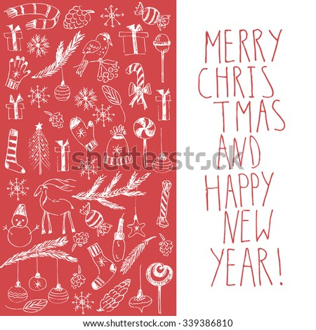 Hand drawn doodle vector illustration. Christmas line art white drawings on red. Christmas card with Christmas tree, fir branches, ornaments, snowflakes, socks, mittens, lights, cones, lettering. - stock vector