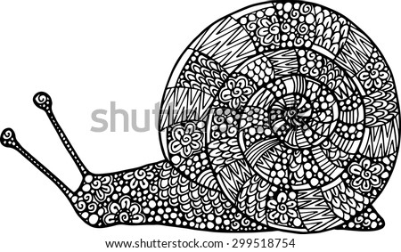 Hand drawn doodle vector outline snail illustration decorated with abstract ornaments. Abstract mobochrome snail drawing - stock vector