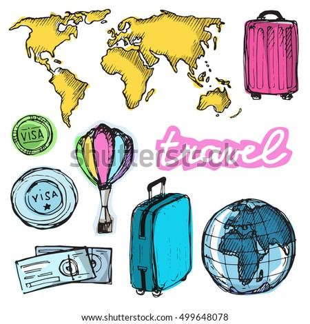 Hand drawn doodle  vector travel set. Vector illustration.