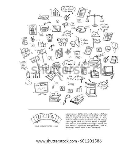 Hand Drawn Doodle Vote Icons Set Stock Photo Photo Vector