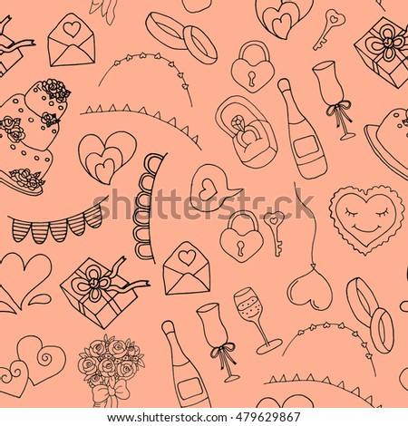 Hand drawn doodle Wedding collection Vector illustration. Wedding vector set with graphic elements. Vector round concept with wedding icons - vintage.