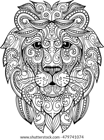 Doodle zentangle lion illustration decorative ornate vector lion