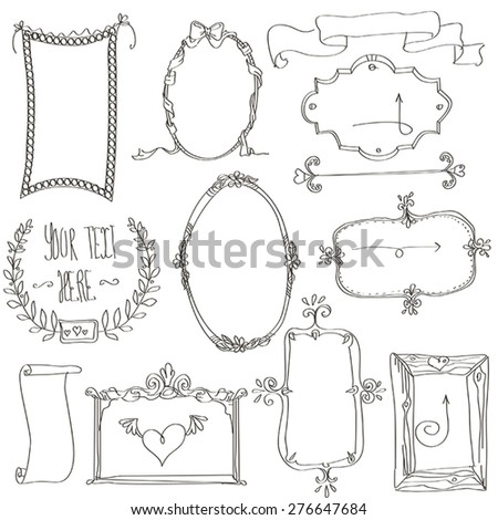 Hand-drawn doodles and frames. - stock vector