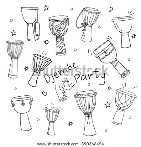 Hand drawn doodles collection of different kinds of African djembe drums. EPS 10. - stock vector