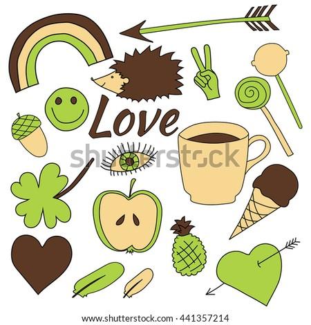 hand drawn doodles collection vector illustration coffee, apple, ice cream, heart, arrow, rainbow, clover, love, acorn, lollipop feather hedgehog pineapple isolated on white background - stock vector