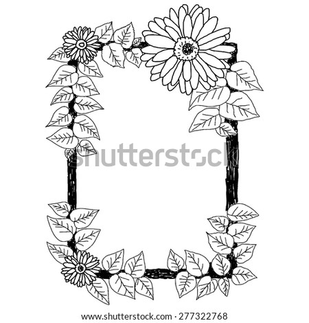 hand drawn doodles of daisies and leaves frame on the white background, vector illustration - stock vector