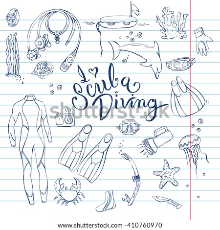 Hand drawn doodles of scuba diving equipment with message I love scuba diving.