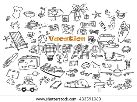 Hand-drawn doodles of the different vacation objects. Summer line art collection.