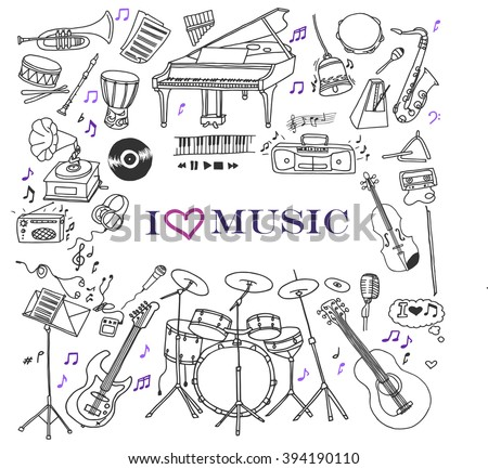 Hand-drawn doodles of the music instruments and objects: guitar, drums, violin, piano, saxophone, bass guitar, etc. Line art illustrations. - stock vector