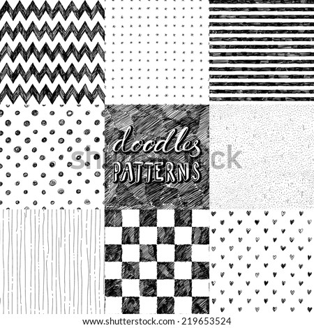 hand-drawn doodles seamless pattern - stock vector