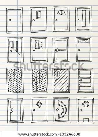Hand drawn doors isolated on a notebook page - stock vector
