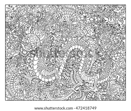 Hand Drawn Dragon Against Zen Floral Pattern Background For Adult Coloring Book Chinese New Year