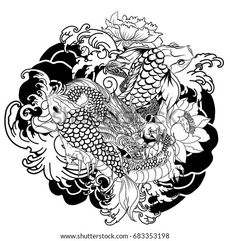 Hand drawn dragon tattoo coloring book stock vector 663449044 hand drawn dragon and koi fish with flower tattoo for armjapanese carp line drawing ccuart Images