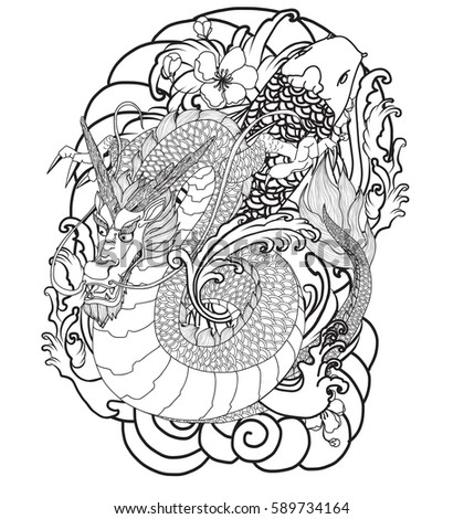 hand drawn dragon tattoo coloring book japanese style - Tattoo Coloring Book