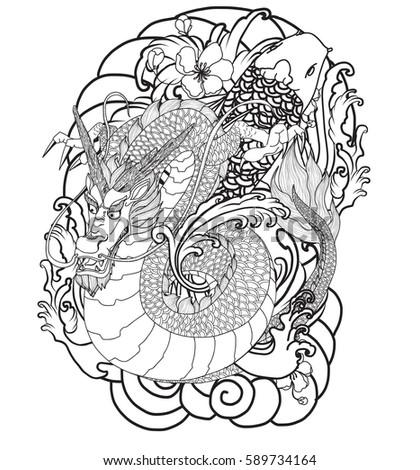 hand drawn dragon tattoo coloring book japanese style - Tattoo Coloring Book