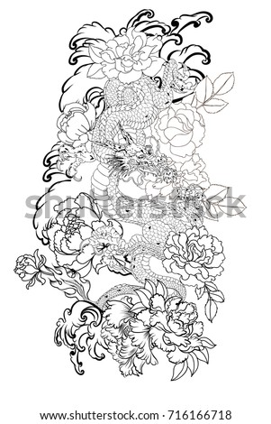 Hand Drawn Dragon Tattoo Coloring Book Japanese StyleJapanese Old For TattooTraditional