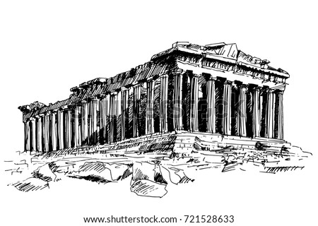 famous architectural buildings black and white. Unique Architectural Handdrawn Drawing Of The Famous Building Ancient Architecture In Athens  Parthenon Greece On Famous Architectural Buildings Black And White