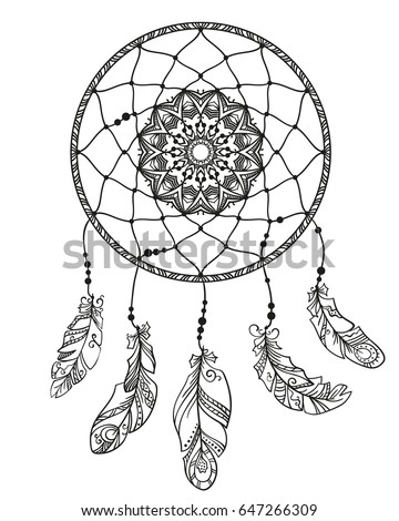 Hand Drawn Dreamcatcher With Feathers Page For Adult Coloring Book Ethnic Isolated Design Element