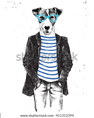 Hand drawn dressed up hipster dog. Vector illustration in hipster style - stock vector