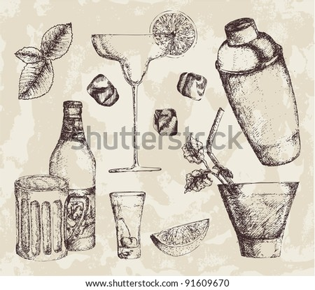 Hand-drawn drinks - stock vector