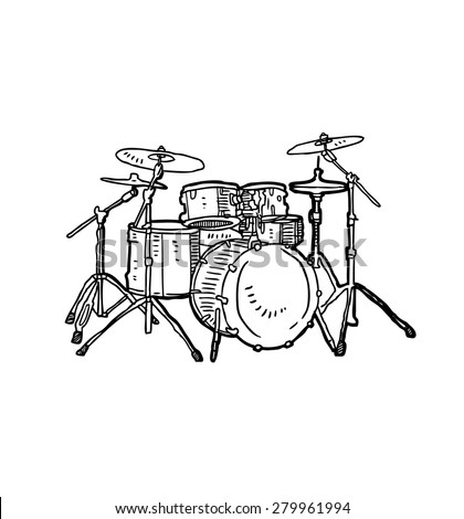 hand drawn drum - stock vector