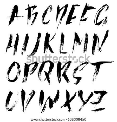 hand drawn dry brush font modern stock vector royalty free