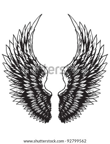 Hand drawn eagle wings - stock vector