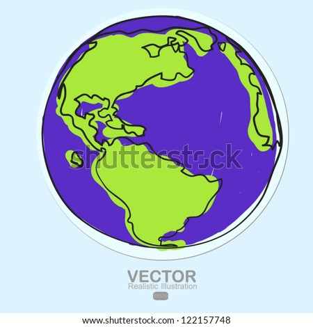 Hand drawn earth on paper cut - stock vector