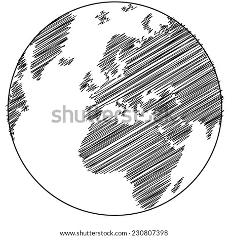 Hand drawn earth sketch - stock vector