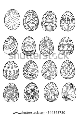 Hand drawn easter eggs for coloring book for adult and design elements - stock vector
