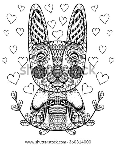 Hand drawn Easter Rabbit with gift and hearts in doodle, patterned bunny in zentangle tribal style for coloring pages, tattoo or artistically ethnic ornamental  prints. Animal vector illustration. - stock vector