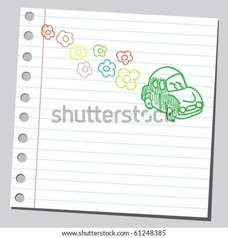 Hand drawn eco car concept - stock vector