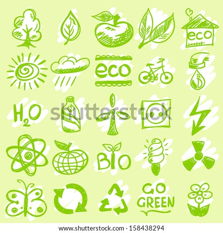 Hand drawn eco icons - stock vector