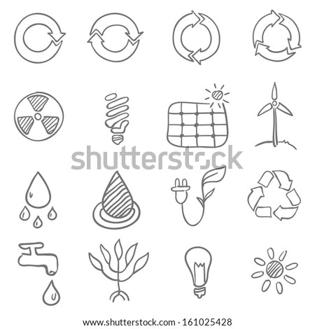 Hand drawn Ecological Icons - stock vector