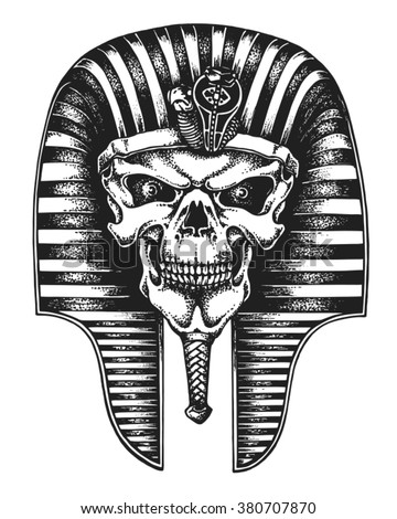 Hand drawn Egyptian pharaoh skull wearing nemes. Vector illustration